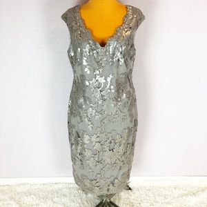 Adrianna Papell Taupe Silver Sequin Cocktail Dress